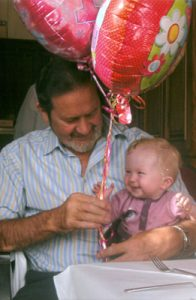 Granda & Hayley, playing with baloons.